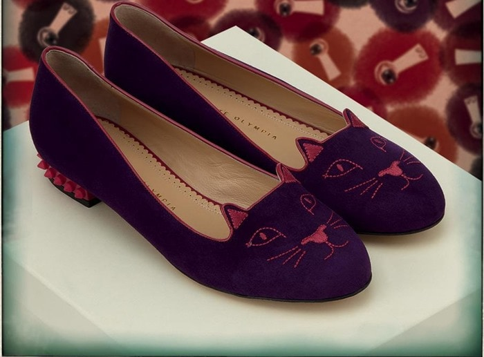 Charlotte Olympia Purple Kitty Studs