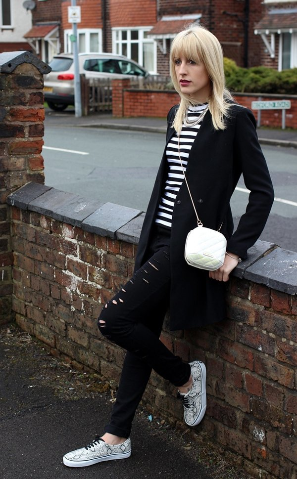 Charlotte ina striped top and distressed jeans