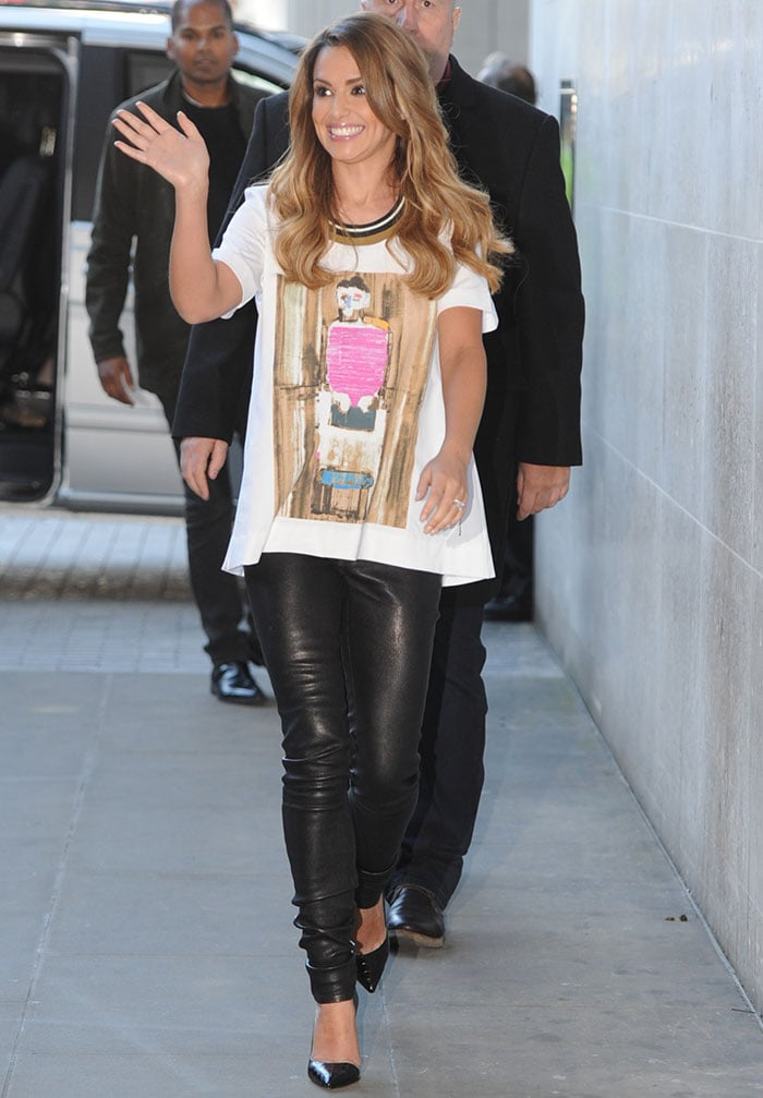Cheryl Cole wearing a Marni crew-neck printed tee and Helmut Lang leather pants
