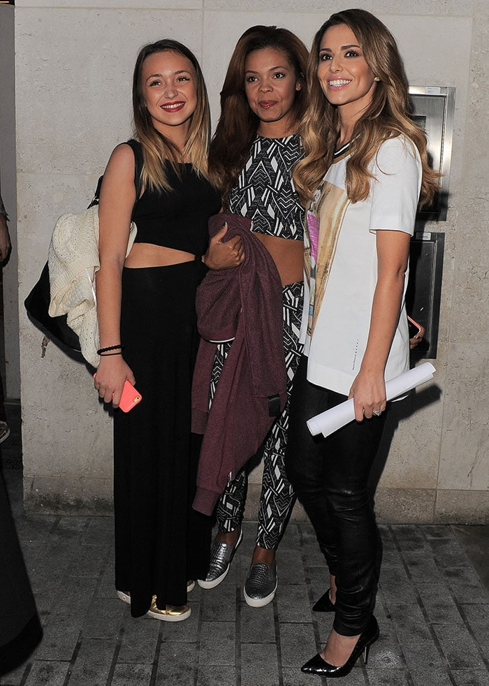 Cheryl Fernandez-Versini with The X Factor girl acts in London, England, on October 7, 2014