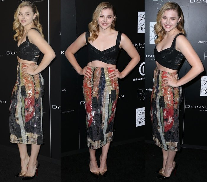 Chloë Grace Moretz styled her top witha painterly-print pencil skirt from the Donna Karan Spring 2015 collection