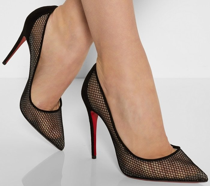 "Christian Louboutin ""Follies Resille 100"" Suede-Trimmed Mesh Pumps"
