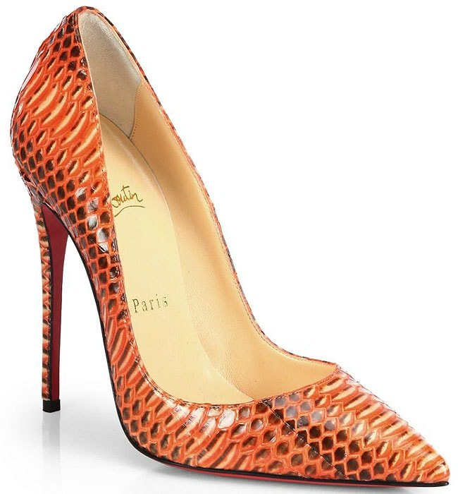 Christian Louboutin So Kate Snakeskin Pumps