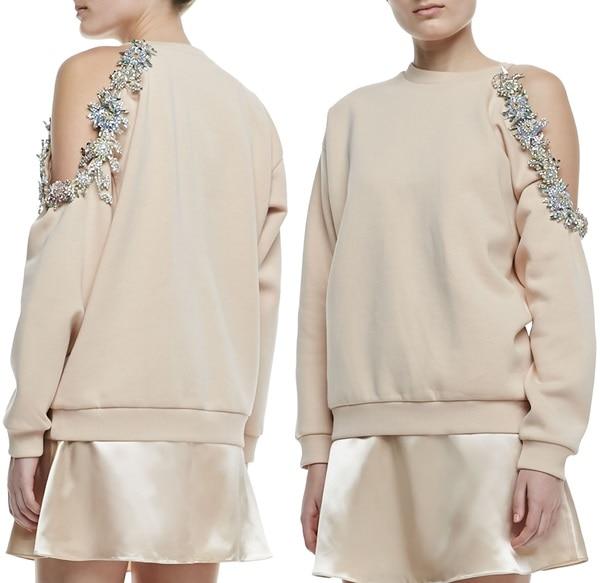 Christopher Kane Cutaway Bejeweled Sweatshirt