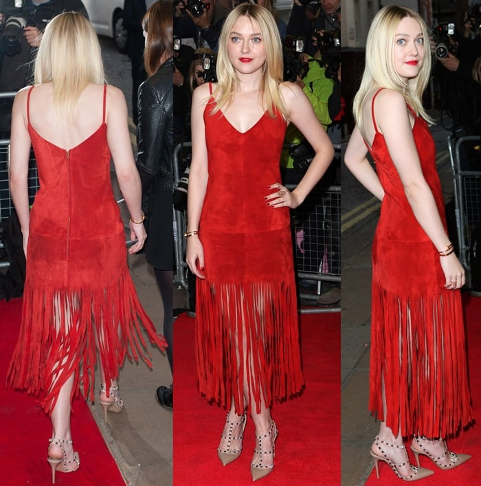 Dakota Fanning in a red suede dress from Valentino's Resort 2015 collection featuring a fringed skirt