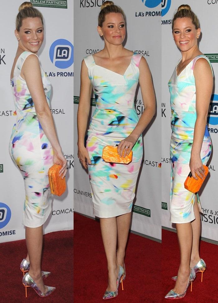 Elizabeth Banks donneda gorgeous sleeveless painted dress by Roland Mouret