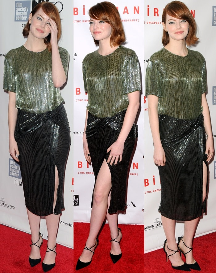 Emma Stone in a green embroidered top paired with a graphite embroidered skirt