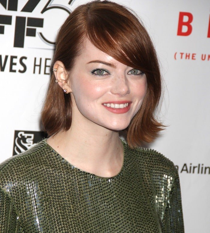 Emma Stone showing off her Ana Khouri ear cuffs at the Birdman or (The Unexpected Virtue of Ignorance) presentation during the 2014 New York Film Festival at Alice Tully Hall in New York City on October 12, 2014