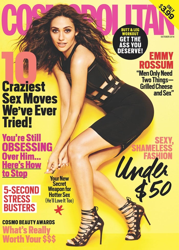 Emmy Rossum is fabulously flirty on the October 2014 cover of Cosmopolitan magazine