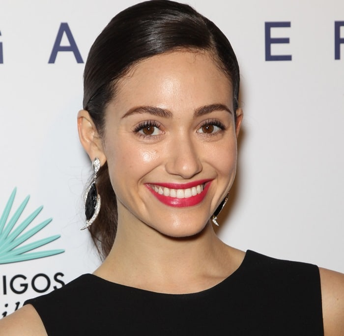 Emmy Rossum accessorized with earrings by Jorge Adeler at Brian Bowen Smith's Wildlife Show held at the De Re Gallery in West Hollywood on October 23, 2014