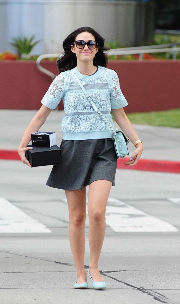 Emmy Rossum leaving Pacific Design Center in West Hollywood, Los Angeles, California on April 2, 2014