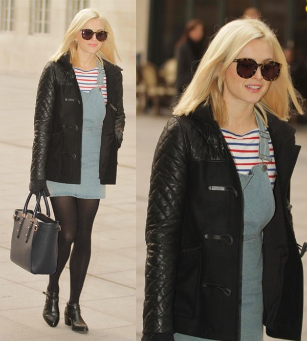 Fearne Cotton rockingchambray dungarees whilearriving at BBC Radio 1 studios in Central London, England, on December 10, 2013