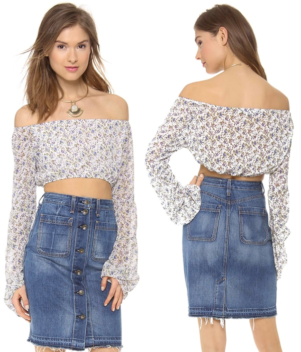 A floral cropped top from The Lady & The Sailor, styled with flared sleeves.