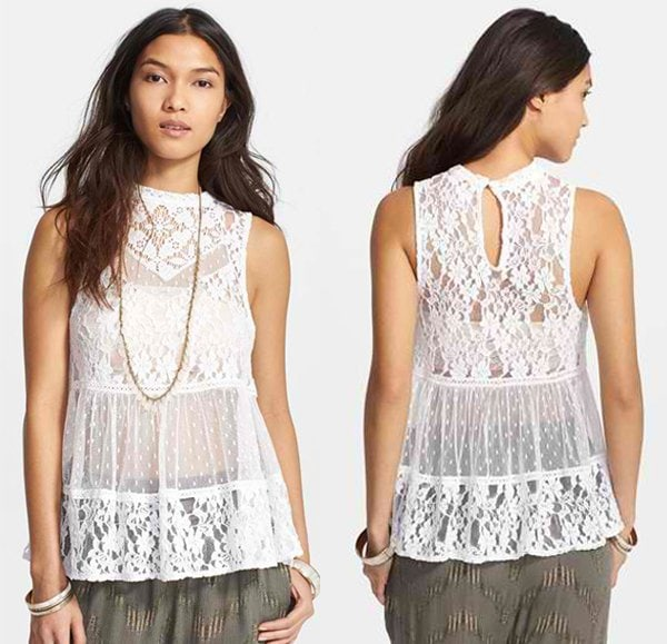 Free People Lady Bird Mixed Lace Tank