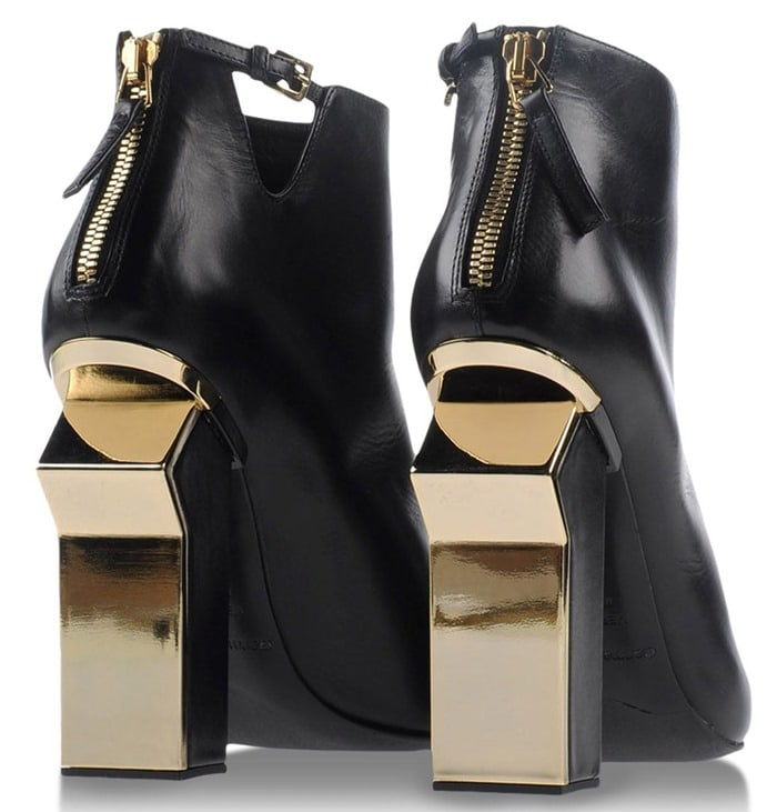 Gianmarco Lorenzi Black Ankle Boots Gold Leaf