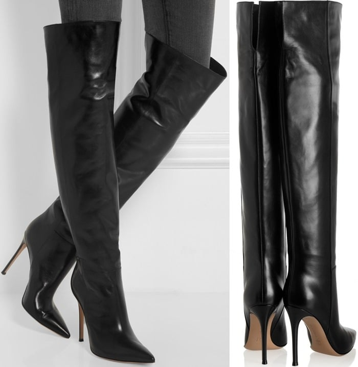 Gianvito Rossi Black Leather Knee Boots