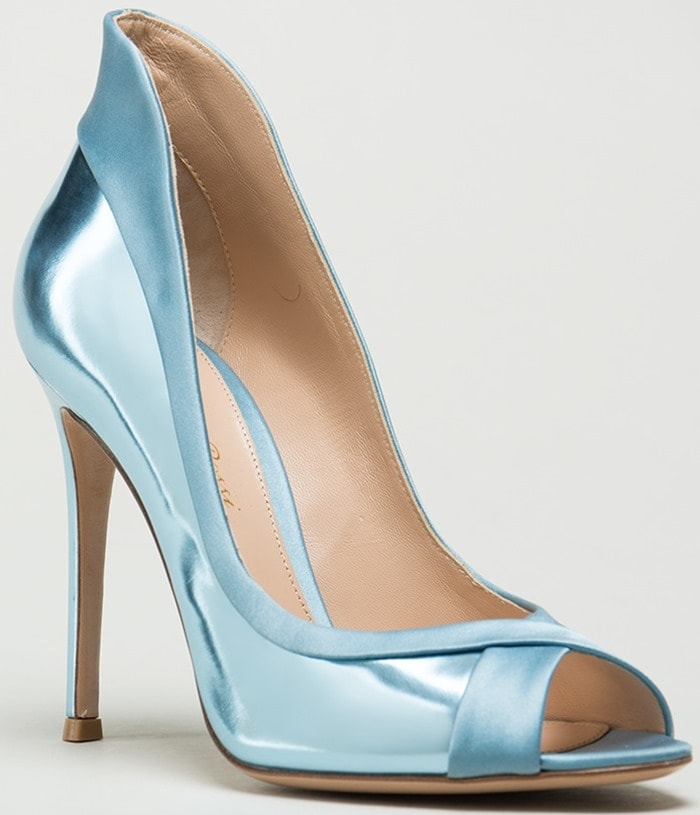 Gianvito Rossi Blue Peep Toe Ellipsis Pump