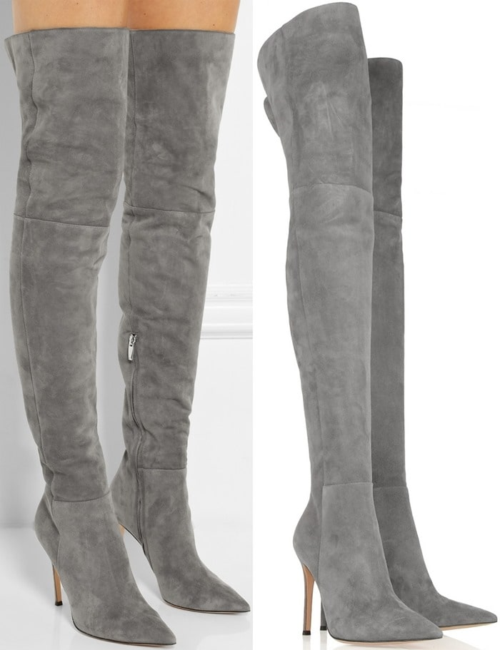 Gianvito Rossi Gray Suede Over-the-knee Boots