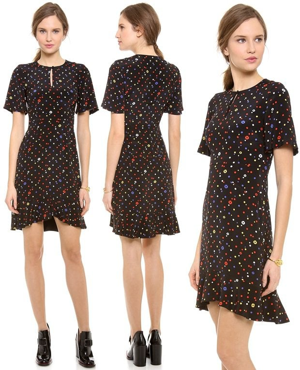 Short flutter sleeves lend vintage charm to a ladylike Giulietta dress, patterned with colorful polka dots and petite flowers
