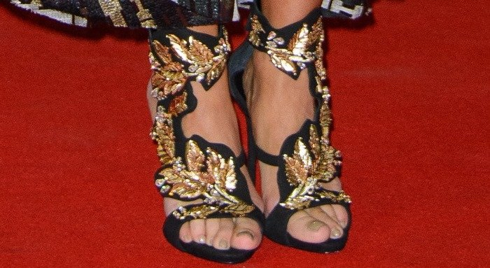 Tulisa Contostavlos shows off her feet in Giuseppe Zanotti sandals