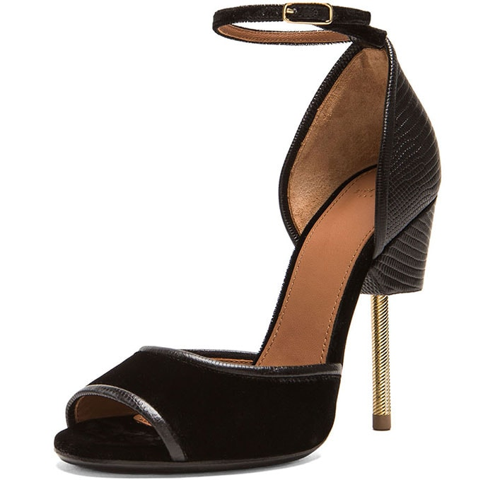 """Givenchy """"Matilda"""" Sandals in Black Lizard-Effect Leather and Velvet"""