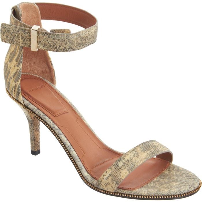 """Givenchy Beige """"Tejus"""" Zipper-Trim Sandals"""