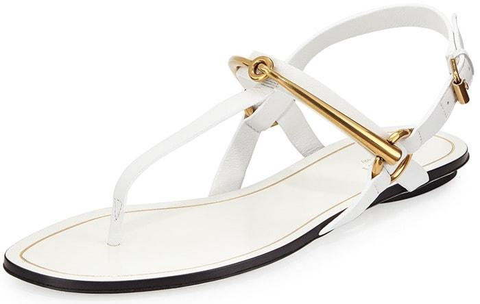 Gucci Tess Horsebit Slingback Thong Sandals in White