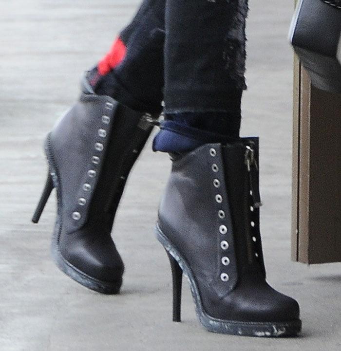 Gwen Stefani wearing L.A.M.B. booties
