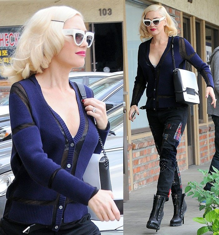 Gwen Stefani gave onlookers glimpses of skin and her bra