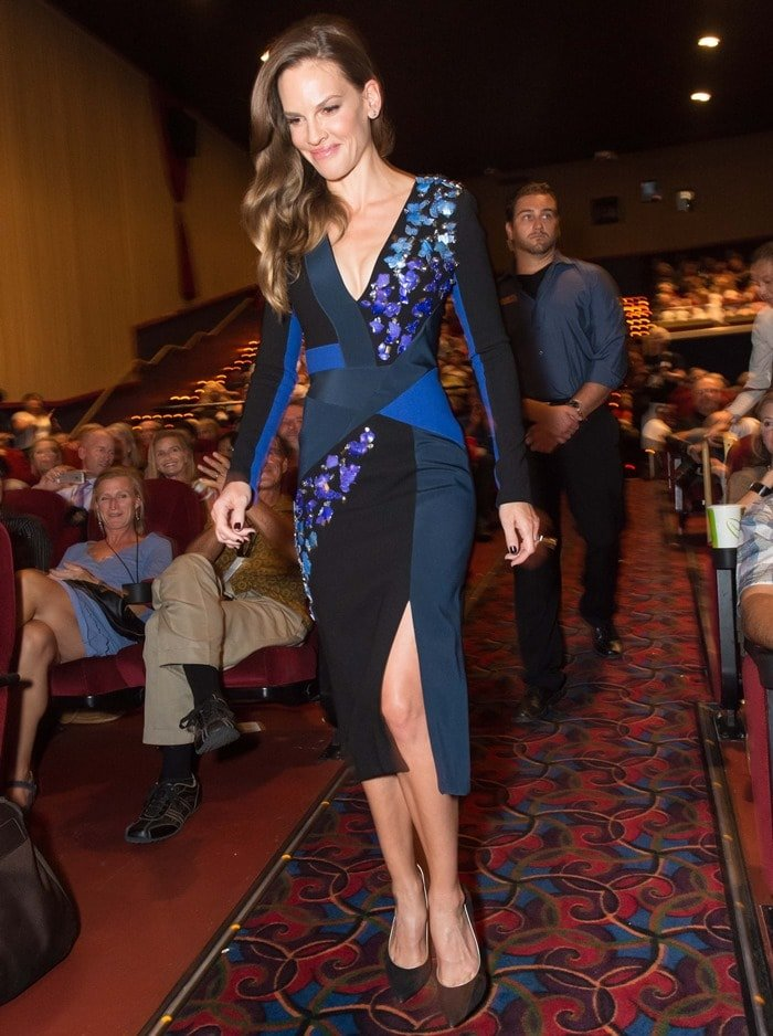 Hilary Swank donned a blue color-block dress from the Peter Pilotto Fall 2014 collection featuring bead and jewel details