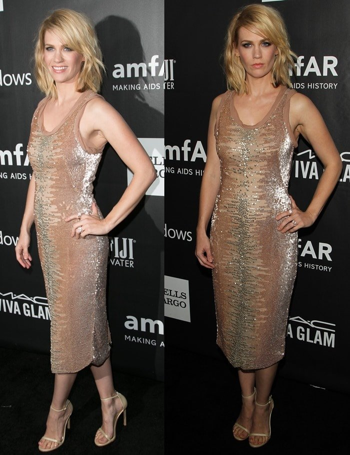 January Jones's nude shimmering dress by Tom Ford