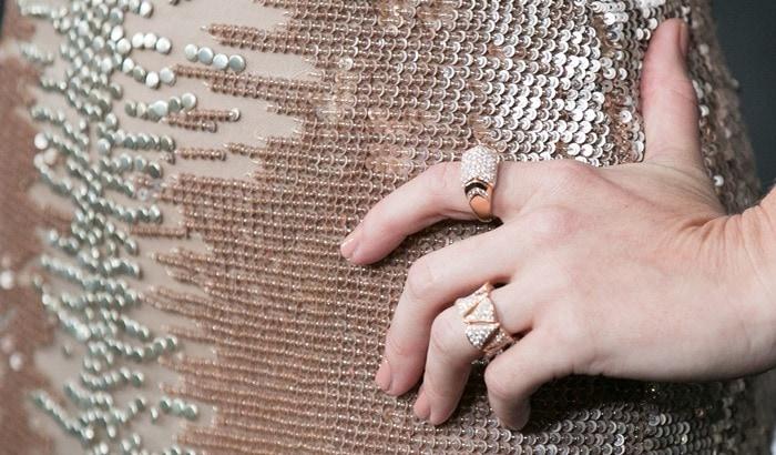 January Jones accessorized with Bulgari jewelry