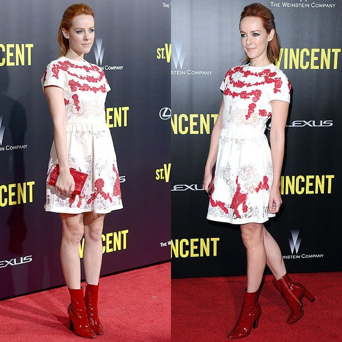 Jena Malone rocking an all-red outfit with her new red hair