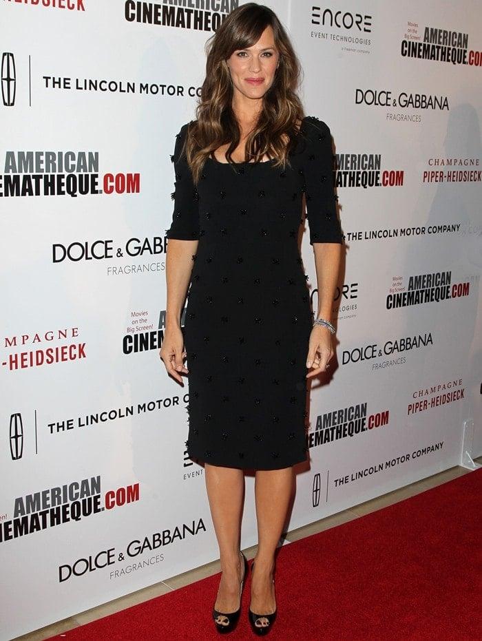 7142c1a59f6 Jennifer Garner in Sequin-Studded Dress and Christian Louboutin ...