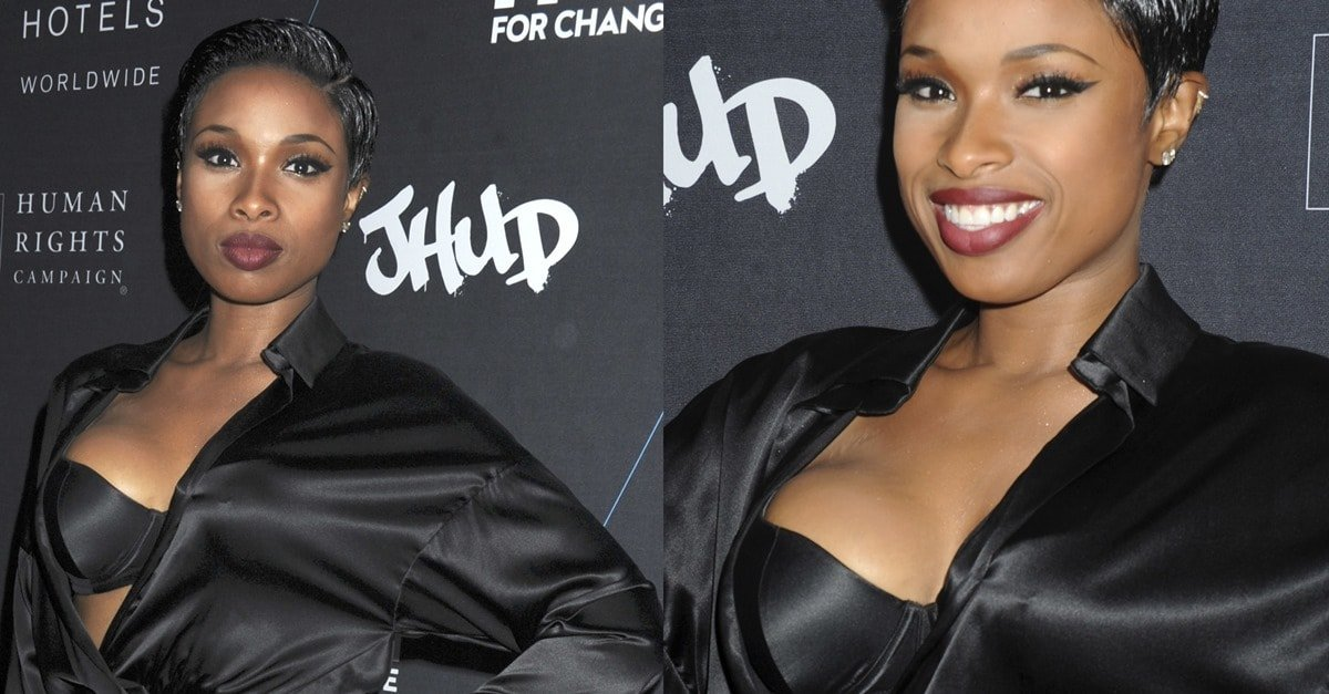 Jennifer hudson gives a modest spin to this sexy saint laurent dress