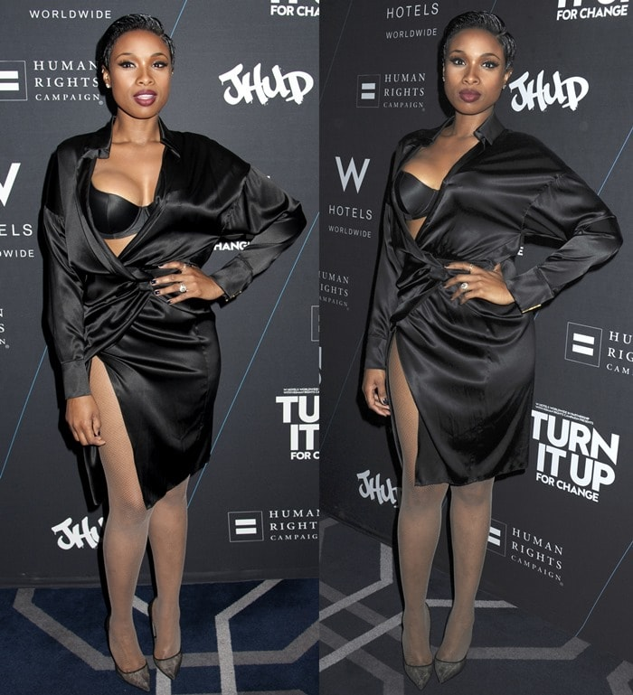 Jennifer Hudson styled the unusual dress with fishnet stockings and see-through black pointy-toe pumps