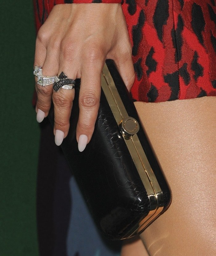 Jennifer Lopez accessorized with Norman Silverman jewelry with Le Vian rings