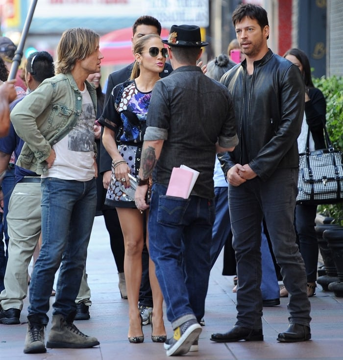 Jennifer Lopez, Harry Connick, Jr., and Keith Urban