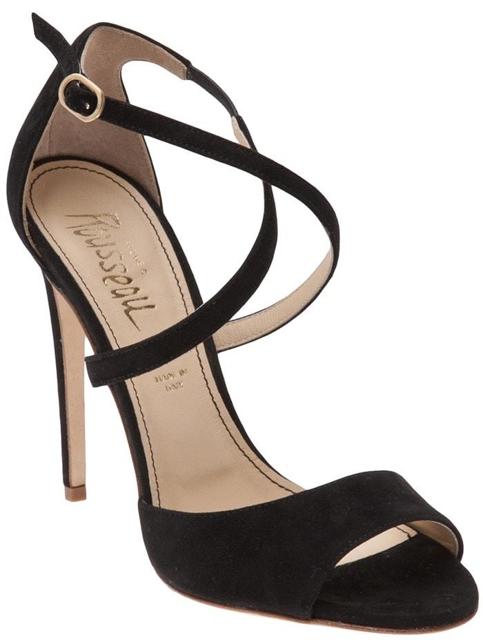 Jerome C. Rousseau Black Popp Peep Toe Sandal