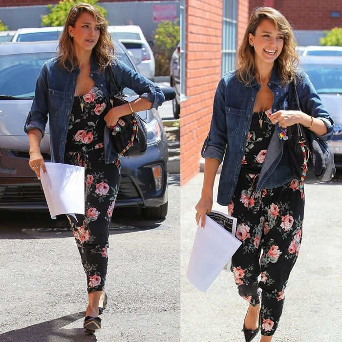 Pair a boxy denim shirt with a jumpsuit like Jessica Alba