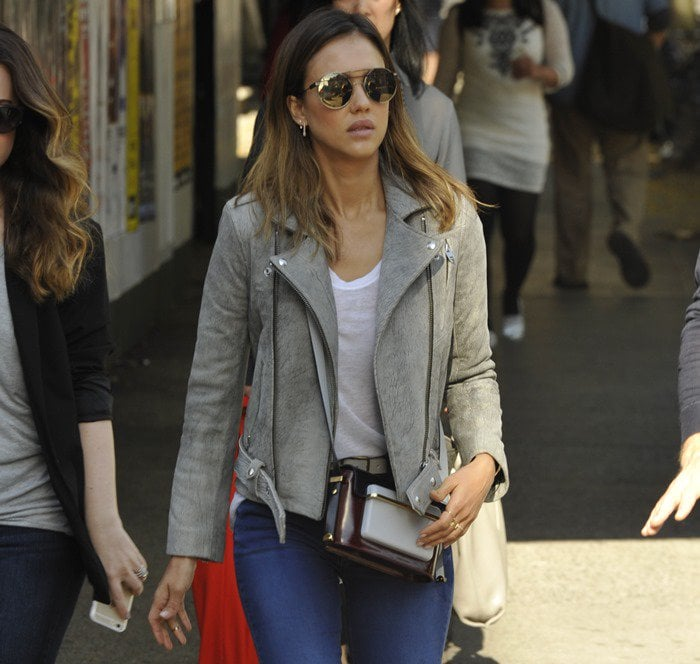 Jessica Alba out in Soho with friends