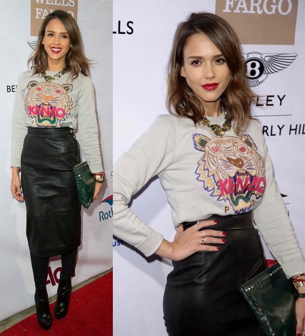 Jessica Alba at the City of Beverly Hills Centennial Party held at the Crustacean Restaurant in Los Angeles on February 5, 2014