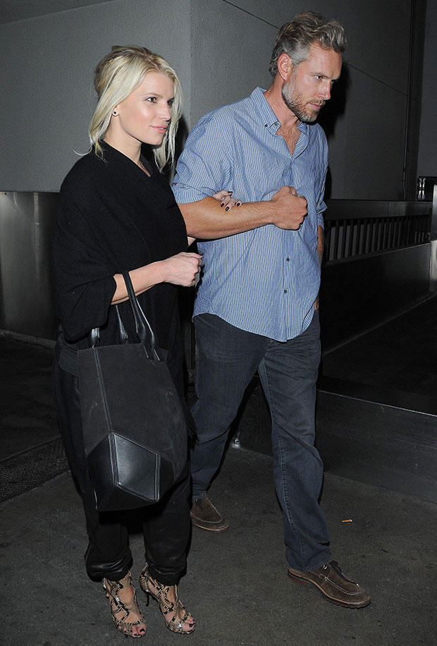 Jessica Simpson and Eric Johnson at the Los Angeles International Airport on October 2, 2014