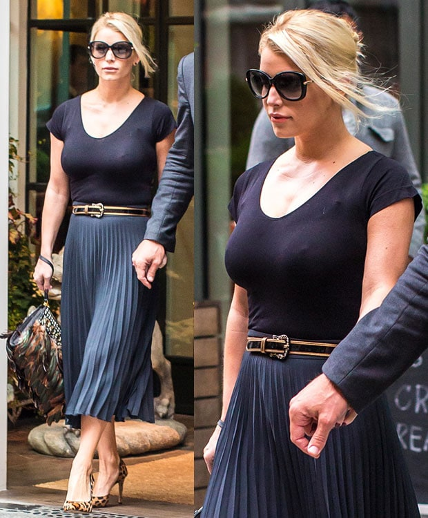 Jessica Simpson wore a Josephina scoop neck crop top with a pleated A-line skirt from her own fashion collection