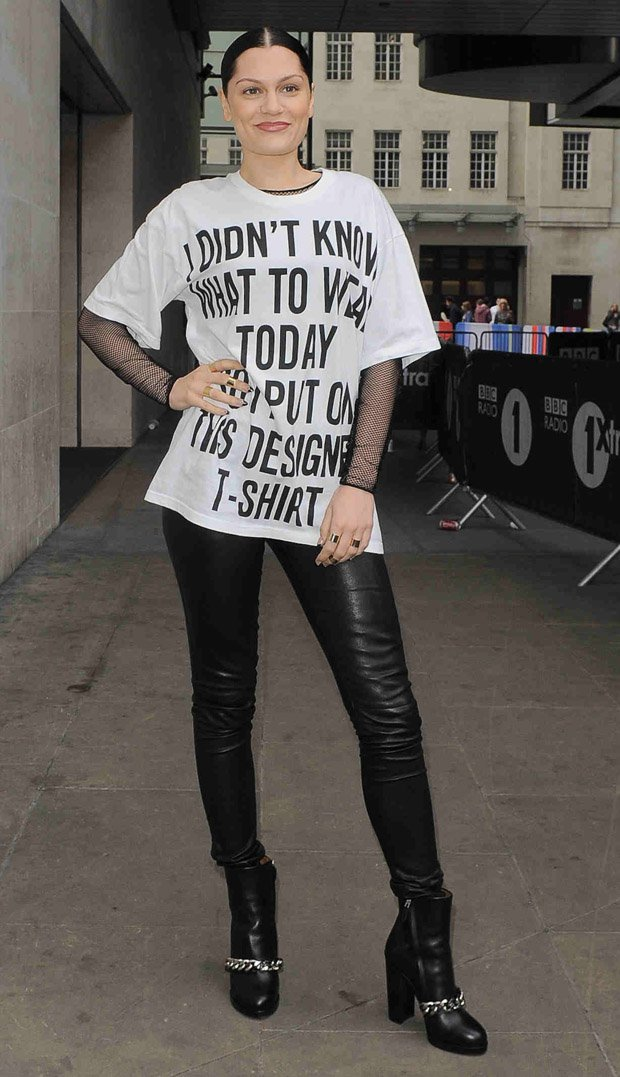 Jessie J inleather pants and sky-high Givenchy 'Mirta' chain link ankle boots