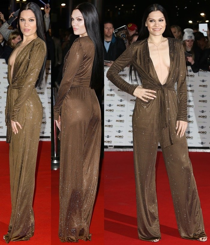 Jessie J left little to the imagination in a plunging bronze jumpsuit