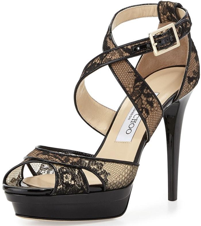 """Jimmy Choo """"Kuki"""" Lace Platform Sandals in Black"""