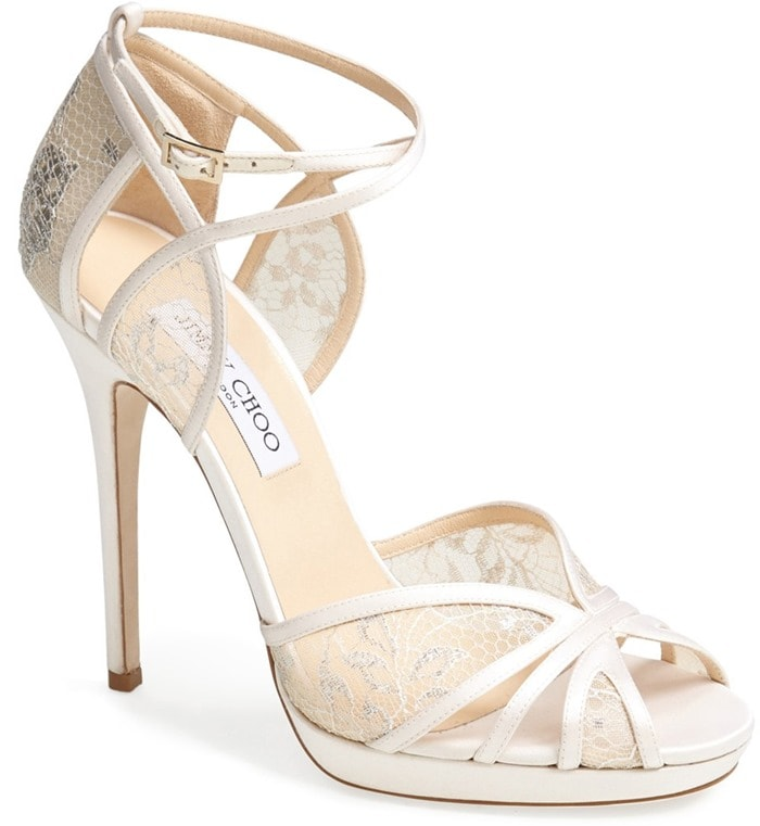 """Jimmy Choo """"Fayme"""" Lace Platform Sandals in White"""