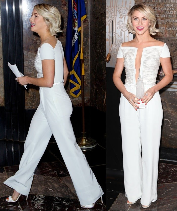 Julianne Hough ina short-sleeved white jumpsuit from the Georges Hobeika Spring 2014 Couture collection
