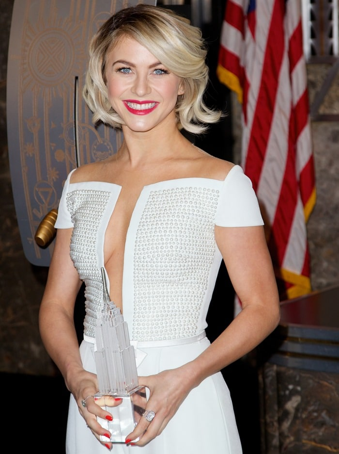 Julianne Hough flashing sideboob while illuminating the Empire State Building for International Day of the Girl